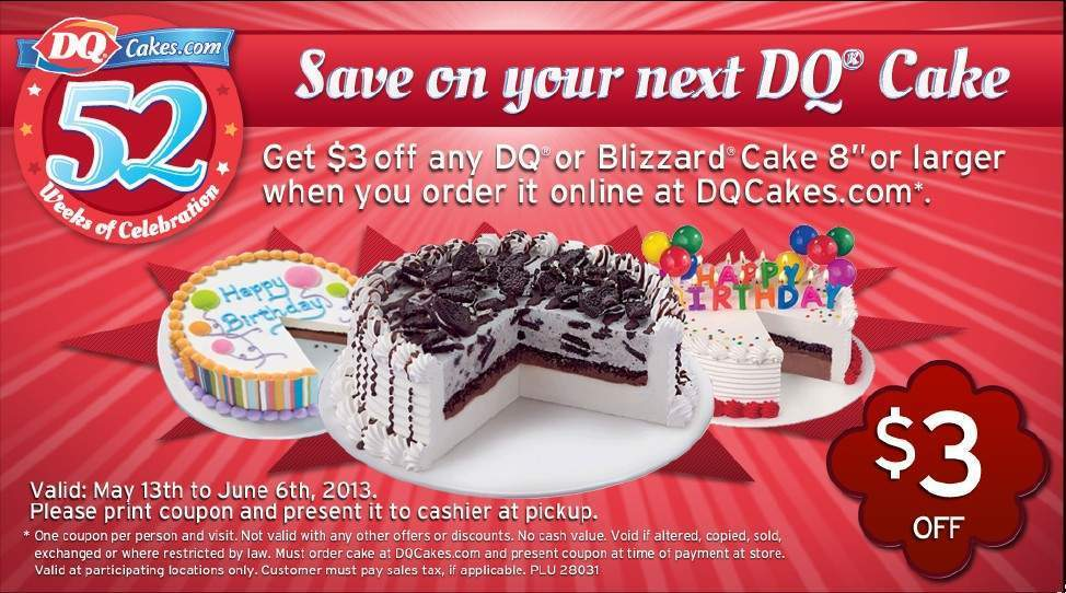 Dairy Queen Cake Coupons Canada 2018