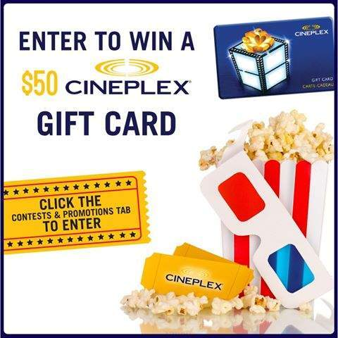 canadian contests enter to win a 50 cineplex gift card. Black Bedroom Furniture Sets. Home Design Ideas